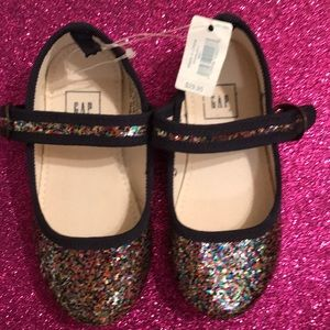Baby Gap glitter shoes with blue detail and buckle